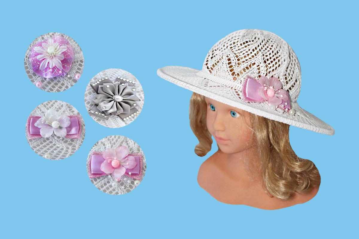 Ажурная шляпа для девочки белая (52154, белый +бант)