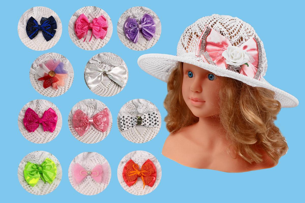 Ажурная шляпа для девочки белая (52/54, белый+бант)