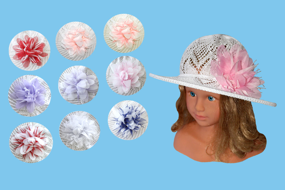 Ажурная шляпа для девочки белая (52/54, белый+цветок)