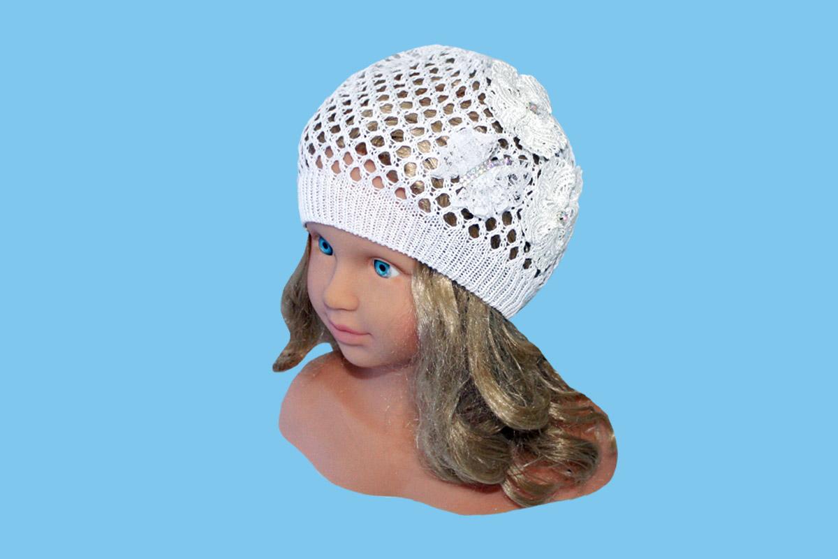 Белая ажурная шапка (44/46, белый)