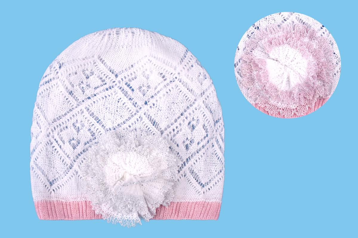 Белая ажурная шапка для девочки (42/44, белый)