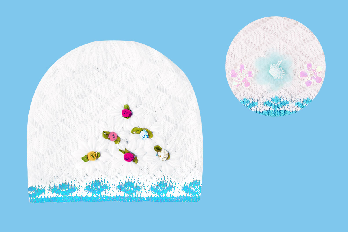 Белая ажурная шапка (40/42, белый+голубой )