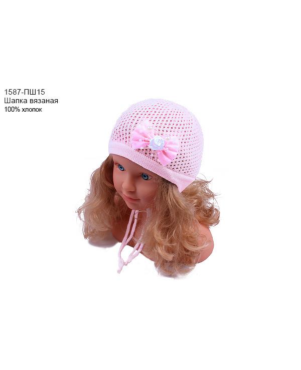 Ажурная шапка для девочки (36/38, серый)