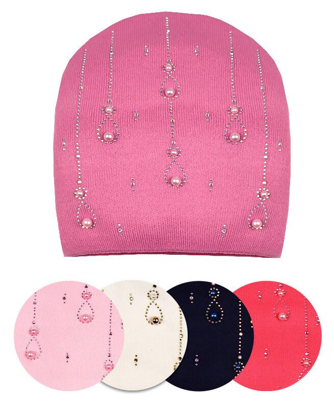 Шапка на подкладе для девочки (50/52, розовый)