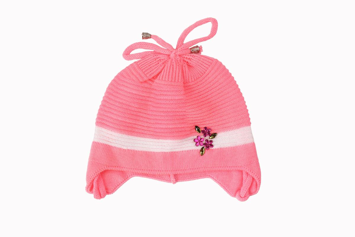 Розовая шапка для девочки (40/42, розовый )