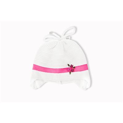 Белая шапка для девочки (40/42, белый+розовый)