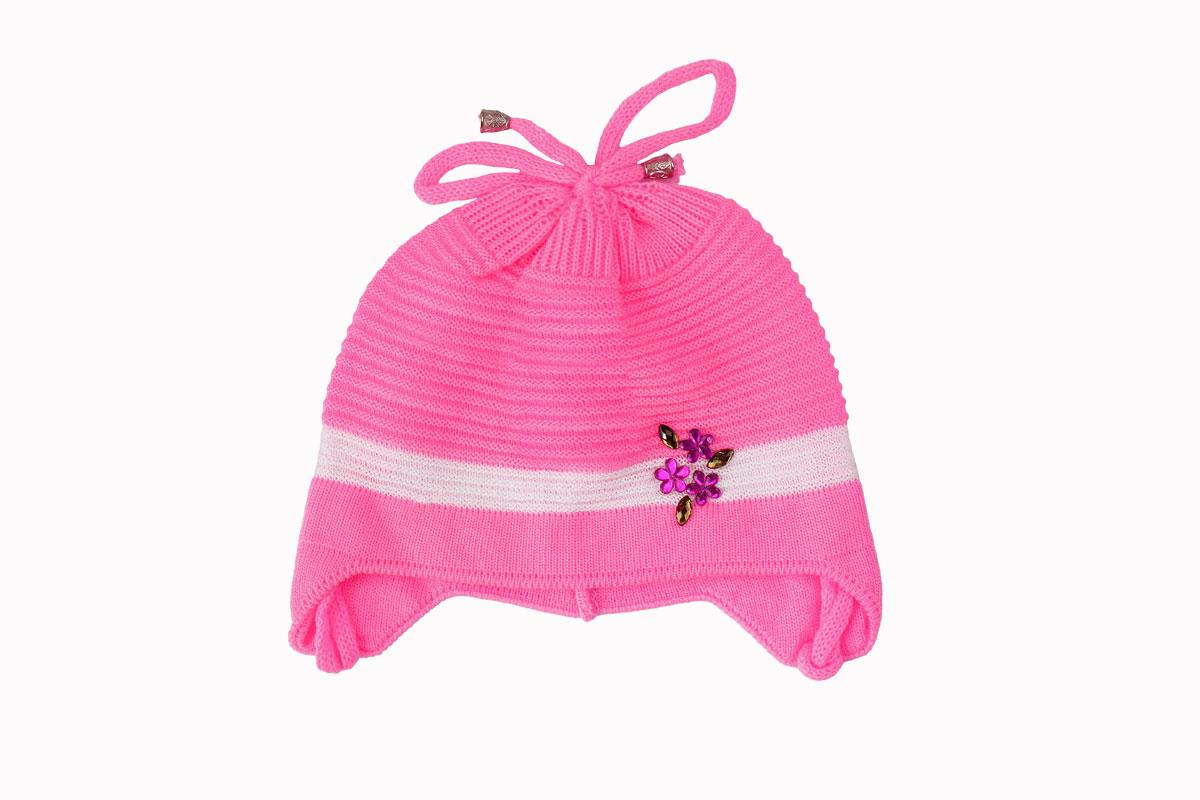 Розовая шапка для девочки (40/42, яр. розовый)