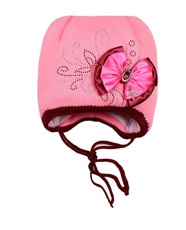 Шапка для девочки на синтепоне (44/46, розовый)