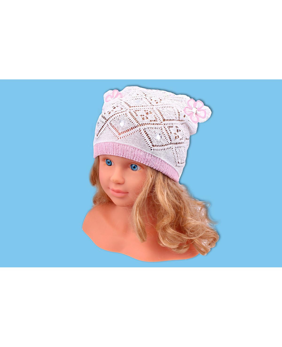 Ажурная шапка для девочки (40/42, белый+розовый )