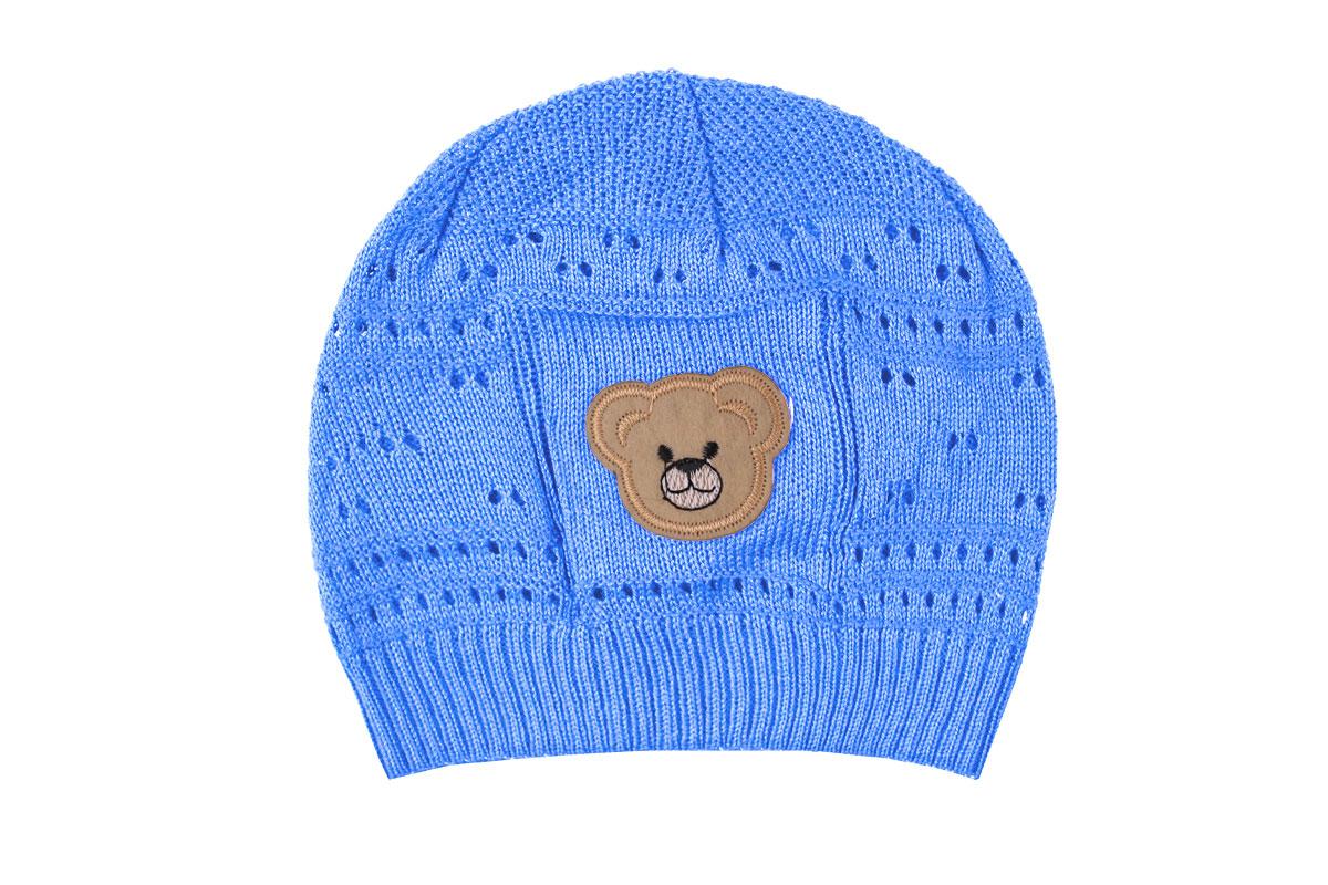 Ажурная шапка для мальчика голубая (40/42, голубой)