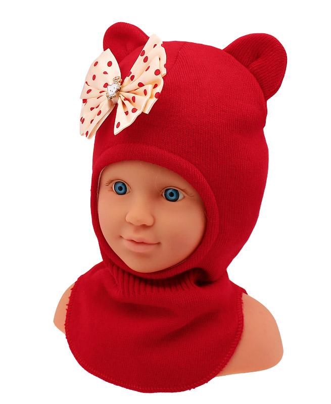 Шапка-шлем для девочки (48/50, красный )