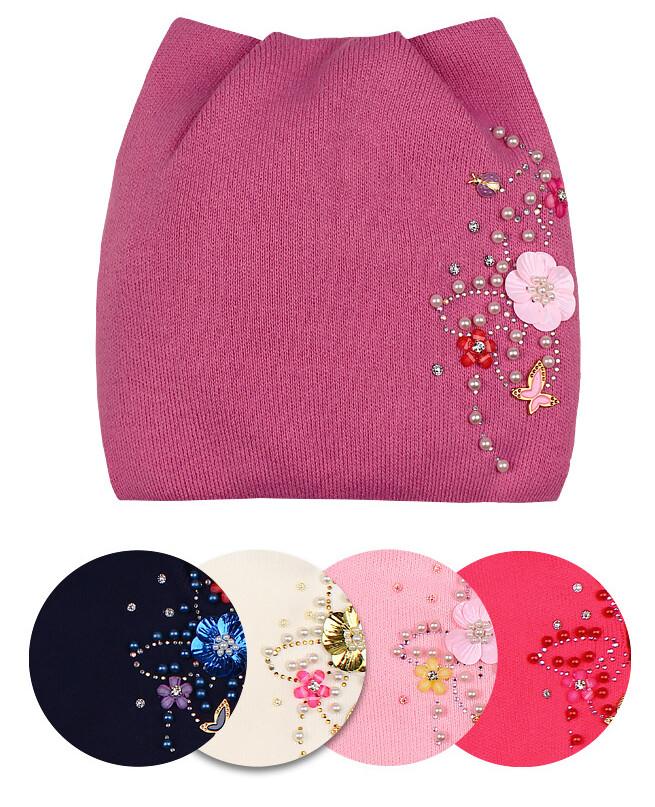 Шапка для девочки на флисовой подкладке (48/50, розовый)