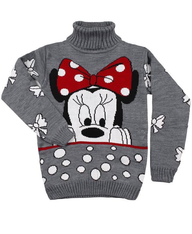 Вязаный свитер для девочки (40/158, серый)
