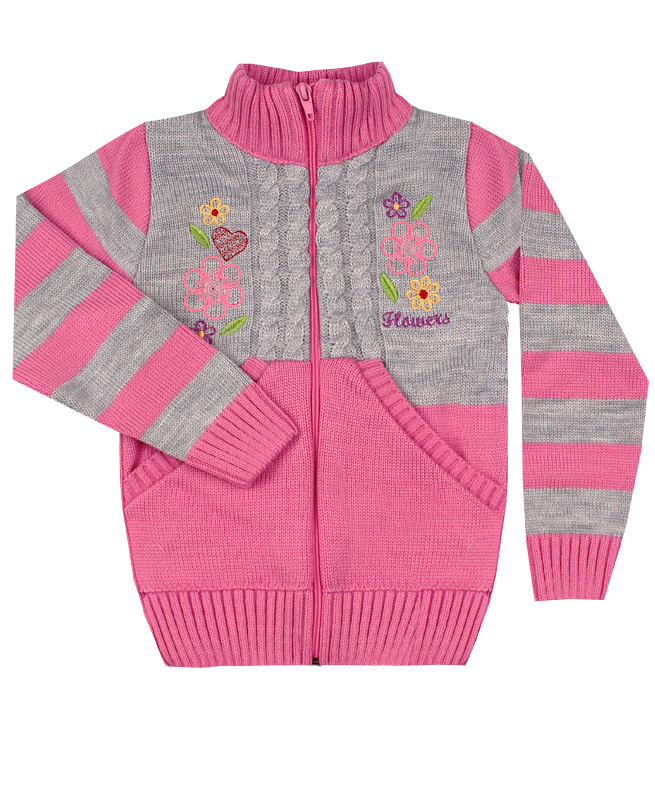 Джемпер розовый вязаный для девочки (32/128, розовый)