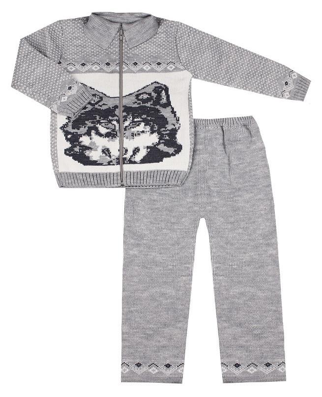 Серый вязаный костюм для мальчика (28/104, серый)