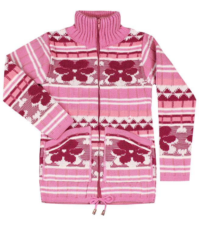 Розовый вязаный джемпер для девочки (32/128, розовый)