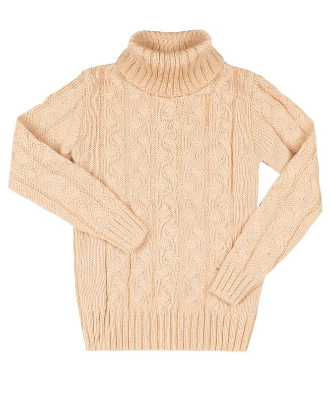 Молочный вязанный свитер для девочки (36/140, молочный)