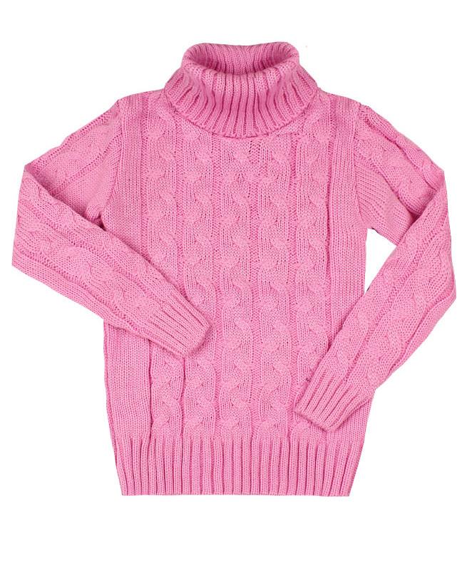 Вязанный розовый свитер для девочки (32/128, розовый)