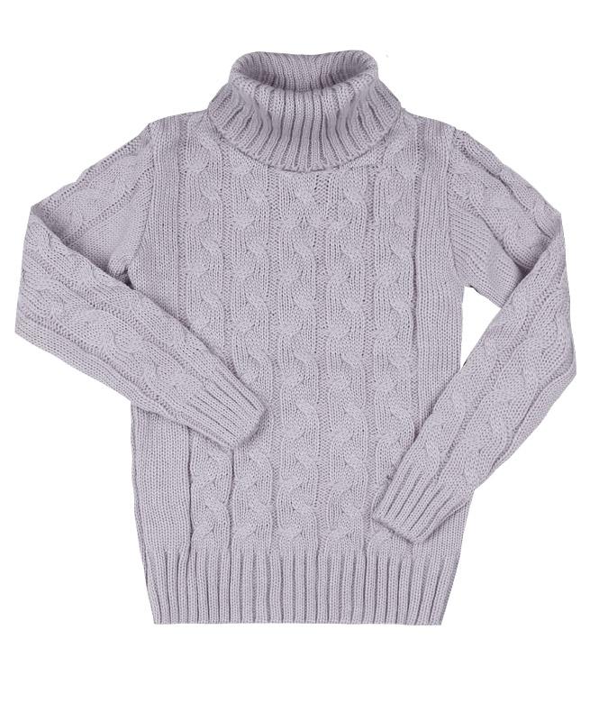 Сверый вязанный свитер для девочки (34/134, серый)