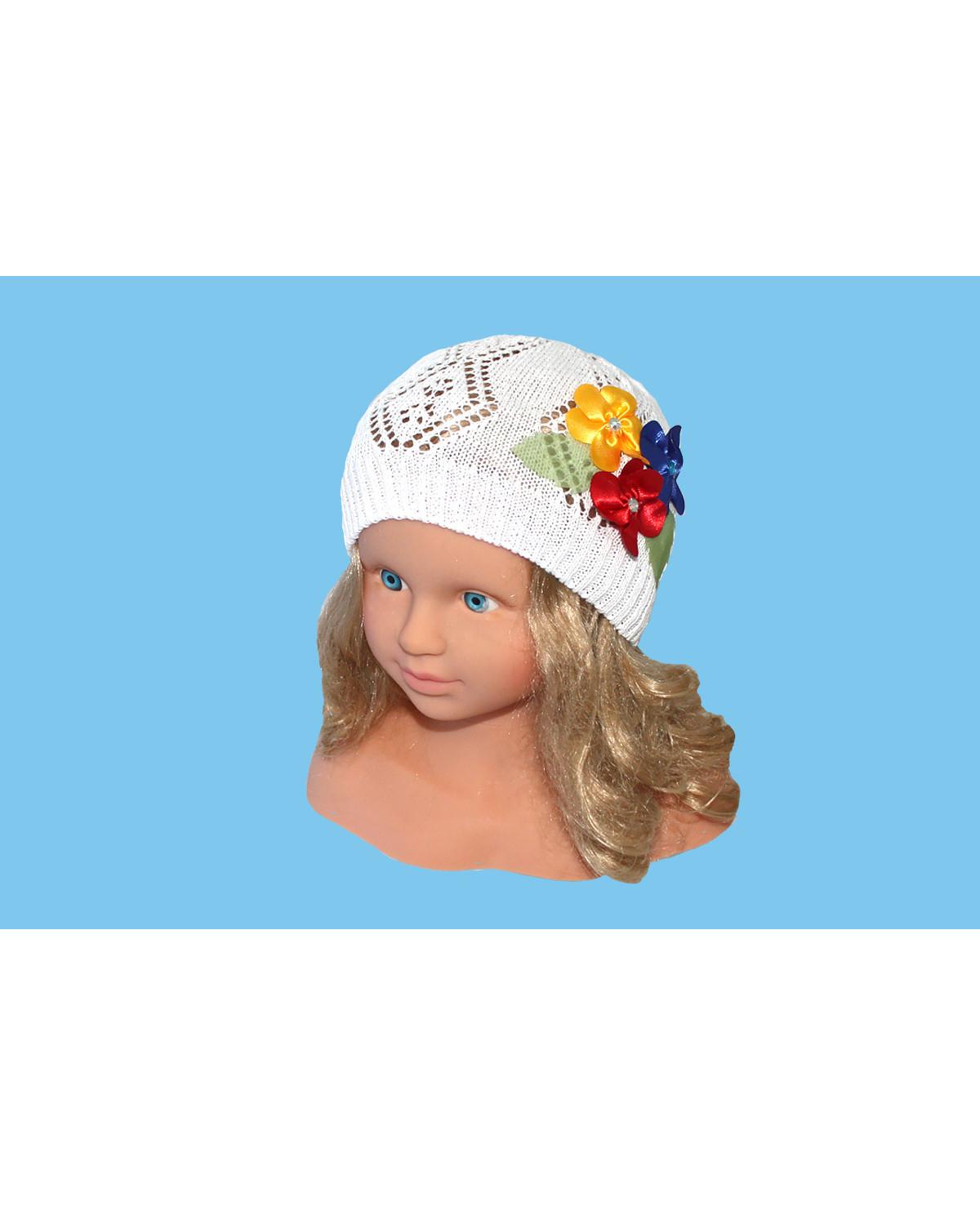 Белая ажурная шапка (46/48, белый+цветок)