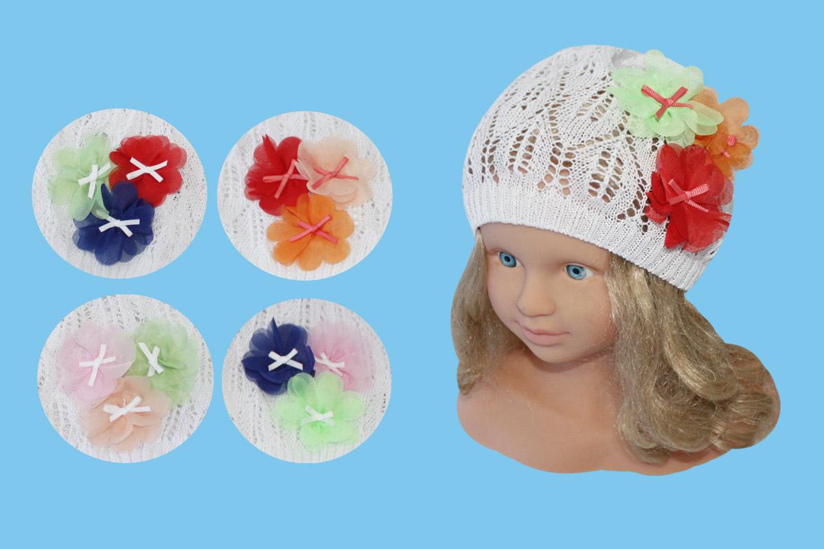 Белая ажурная шапка для девочки (46/48, белый+цветок)