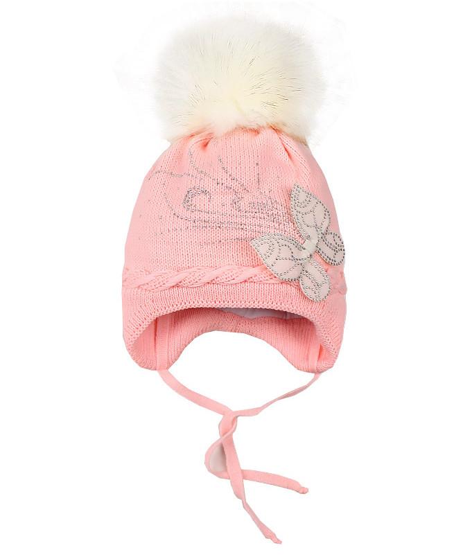 Розовая шапка для девочки на синтепоне (48/50, розовый)