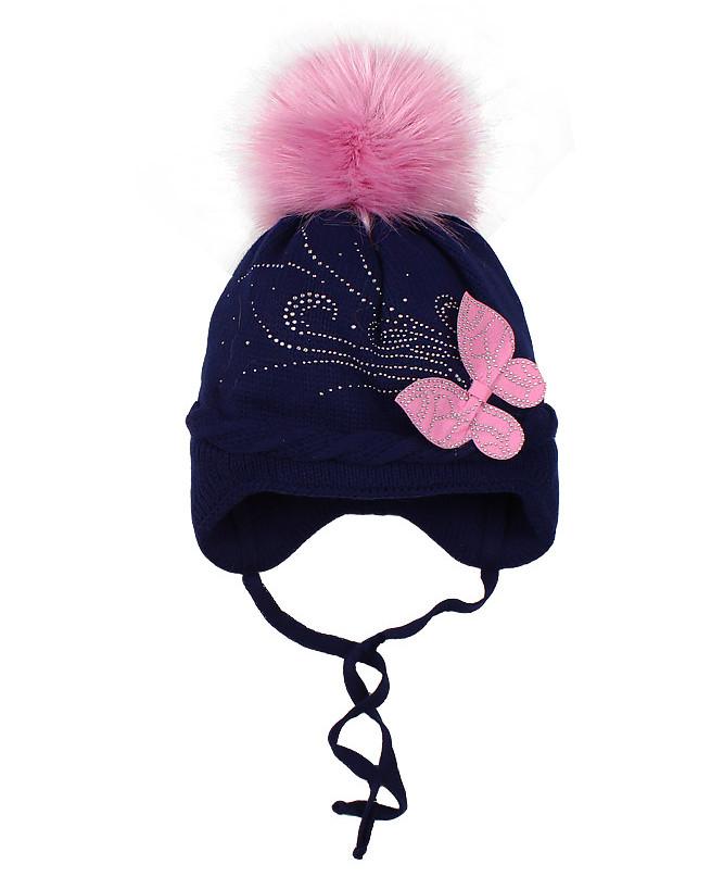 Синяя шапка для девочки на синтепоне (48/50, синий)
