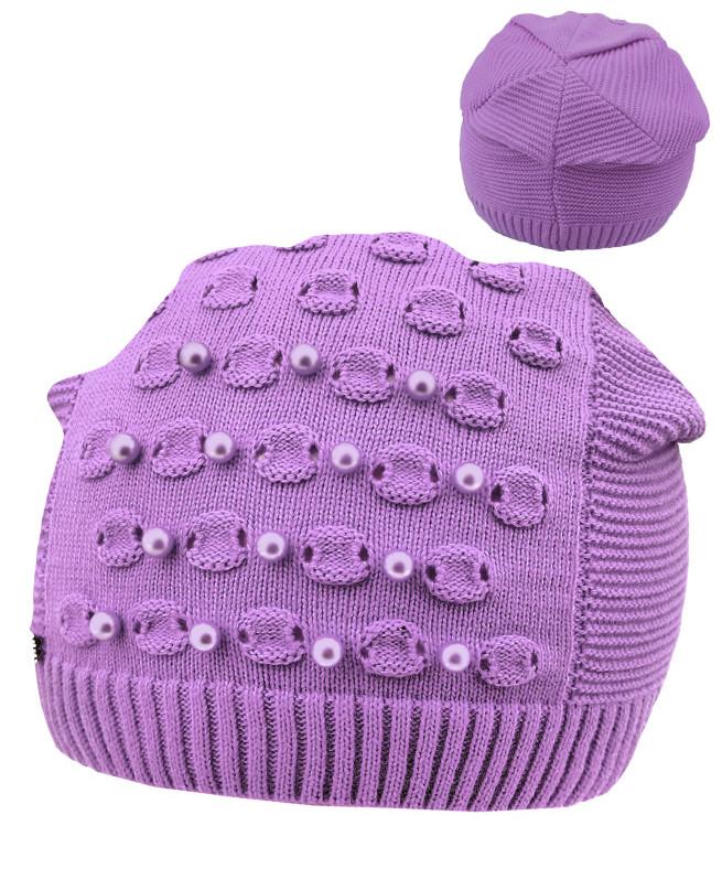 Сиреневая шапка для девочки (52-56, сиреневый)