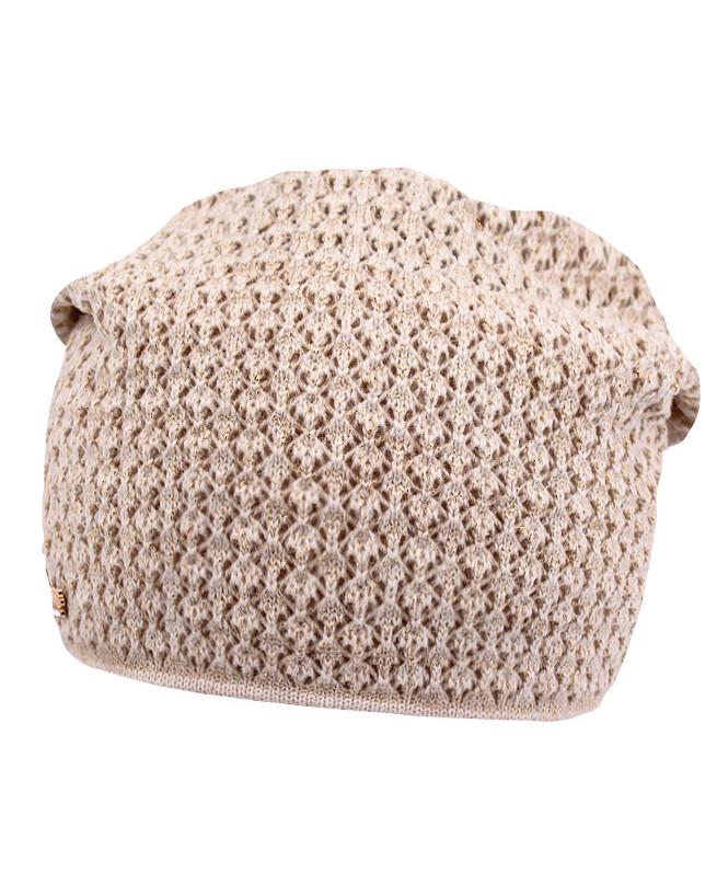 Бежевая шапка для девочки (54/56, бежевый)