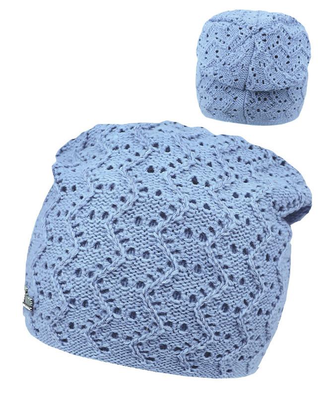 Голубая шапка для девочки (54/56, голубой)