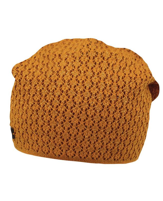 Вязаная шапка для девочки (54/56, горчичный)
