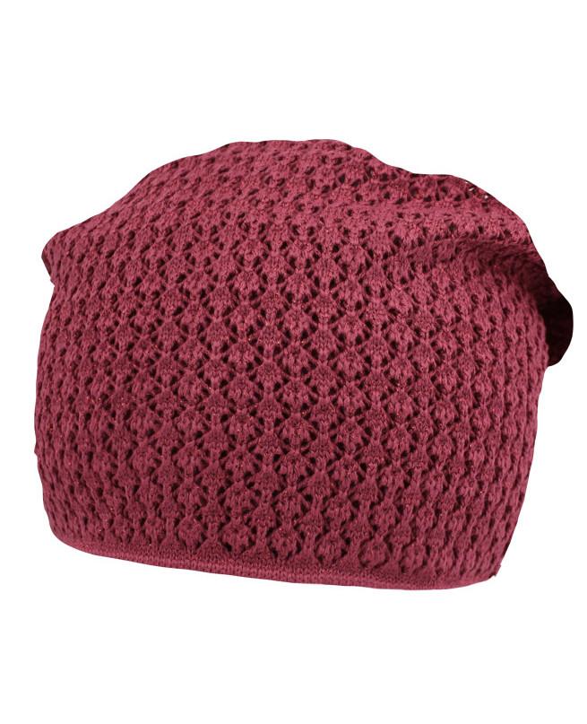 Вязаная шапка для девочки (54/56, пурпурный)