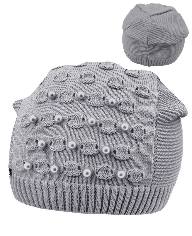 Серая шапка для девочки (52-56, серый)
