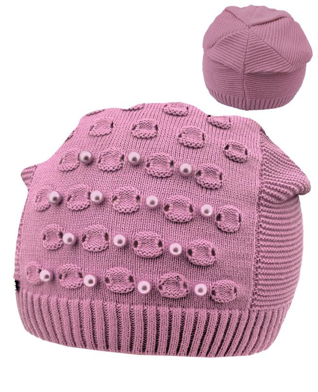 Розовая шапка для девочки (52-56, розовый)