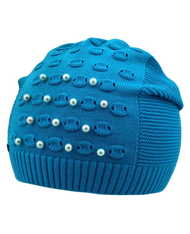 Бирюзовая шапка для девочки (52-56, бирюзовый)