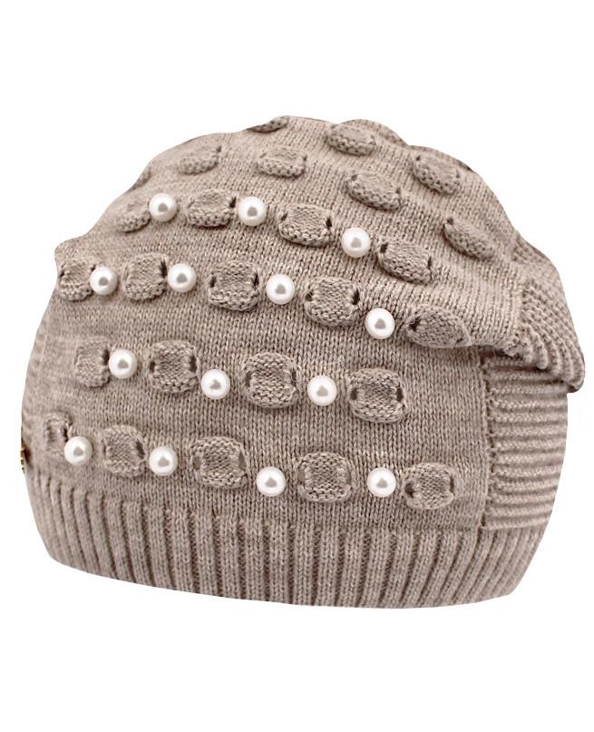 Вязаная шапка для девочки (52/56, светло-коричневый)