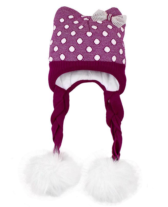 Шапка для девочки с меховым помпоном (48/50, фиолетовый)