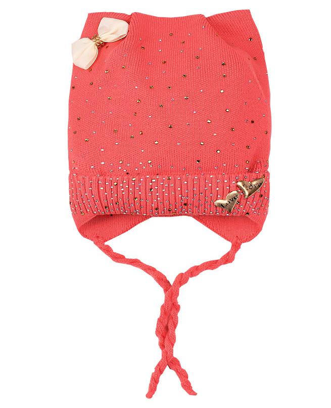 Коралловая шапка для девочки (42/44, коралловый)