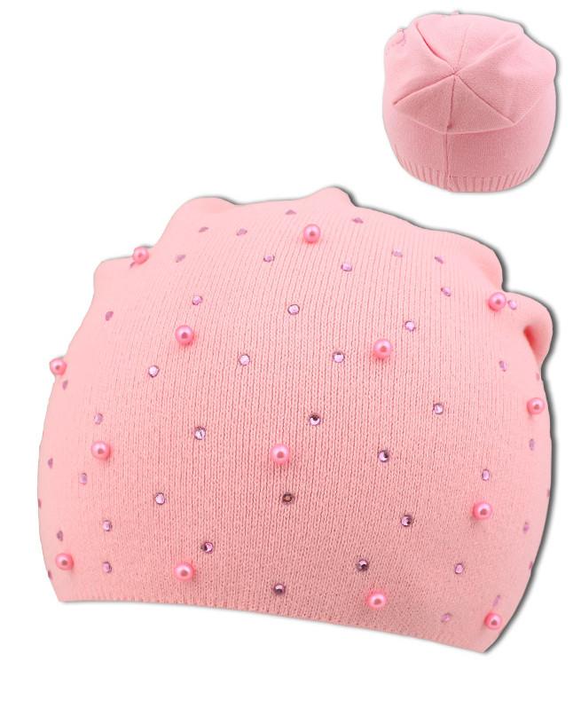 Розовая шапка для девочки (52/54, розовый)
