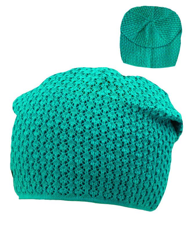 Бирюзовая шапка для девочки (54/56, ментоловый)
