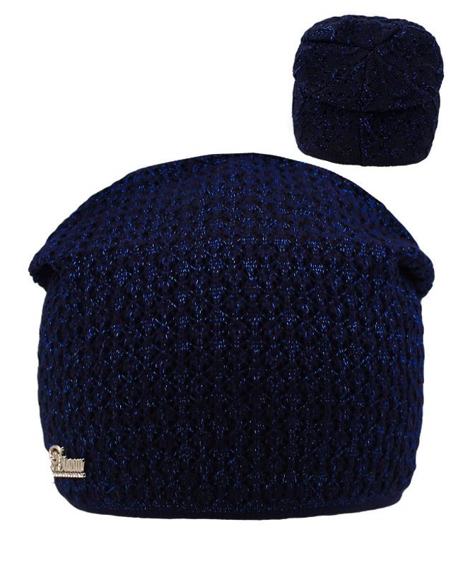 Синяя шапка для девочки (54/56, тёмно-синий)