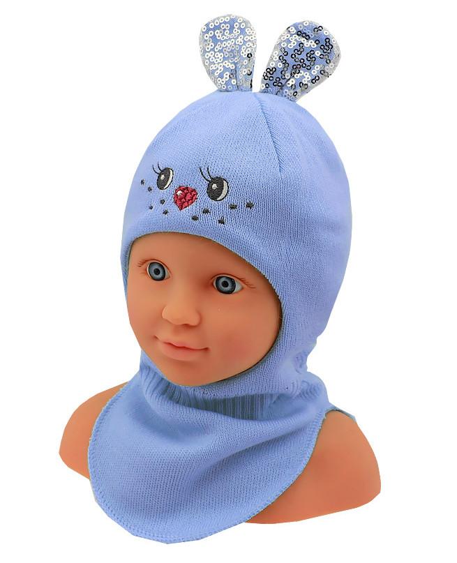 Шлем-шапка для девочки (42/44, Голубой )
