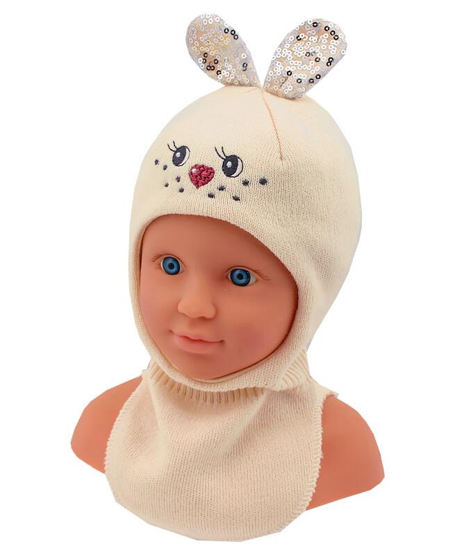 Шлем-шапка для девочки (42/44, бежевый)