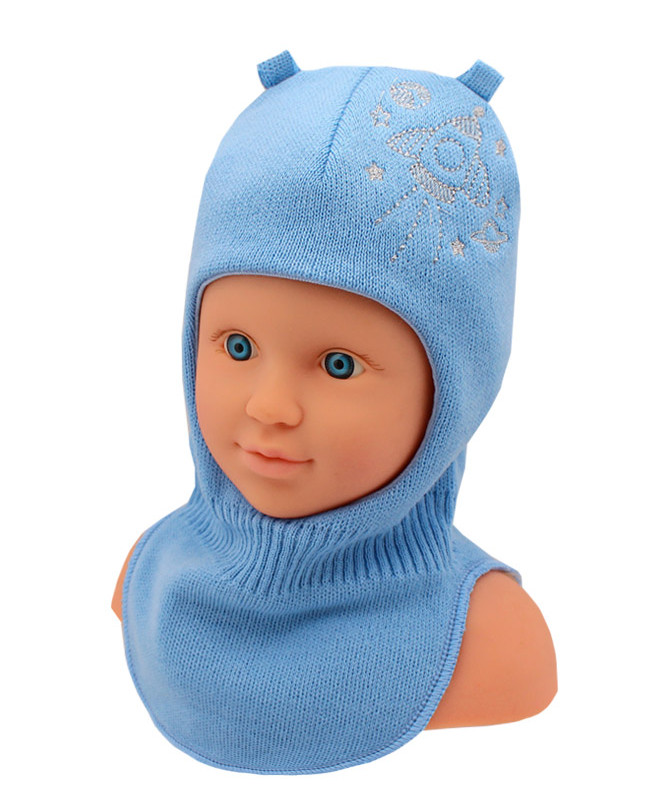 Шлем-шапка для мальчика (44/46, Голубой)