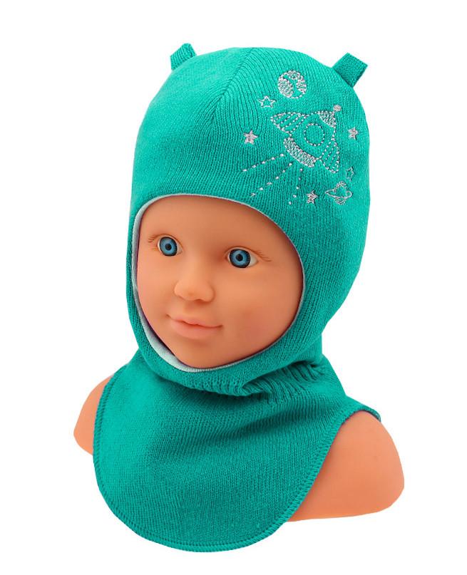 Шлем-шапка для мальчика (44/46, бирюзовый)