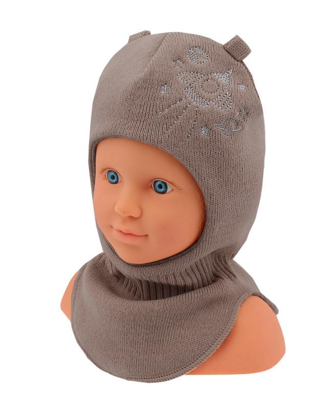 Шлем-шапка для мальчика (44/46, коричневый)