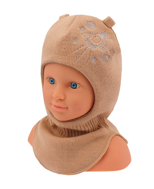Шлем-шапка для мальчика (44/46, бежевый)