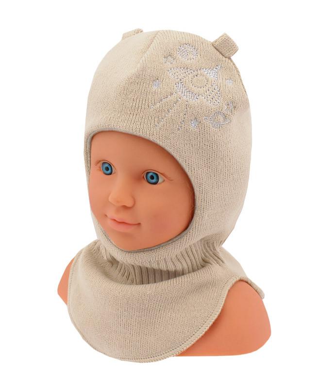 Шлем-шапка для мальчика (44/46, молочный)