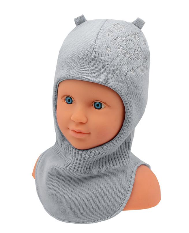 Шлем-шапка для мальчика (44/46, серый)