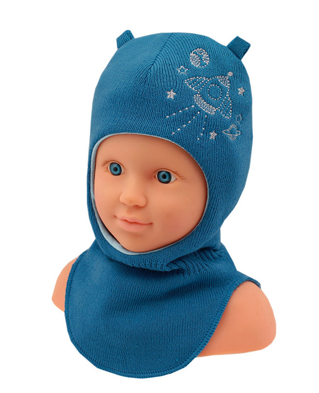 Шлем-шапка для мальчика (44/46, синий)